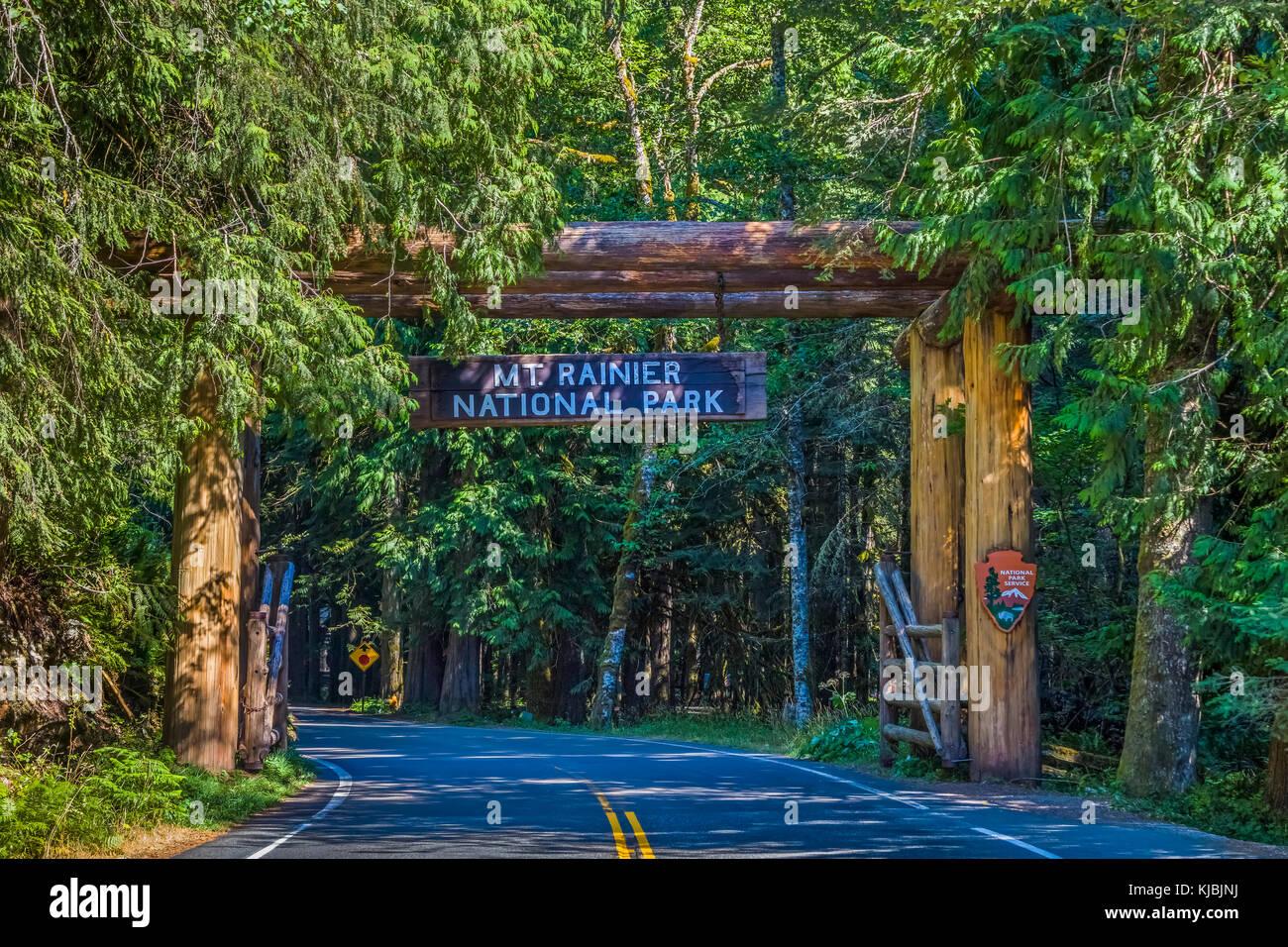 Nisqually Entrance at Ashford Washington to Mount Rainier National Park in Washington State in the United States - Stock Image