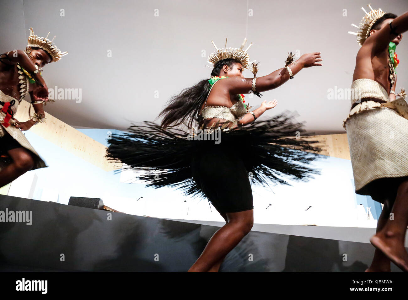 Girl from Kiribati Islands performing at the COP23 Fiji panel in Bonn, Germany on the 15th of November 2017. COP23 - Stock Image