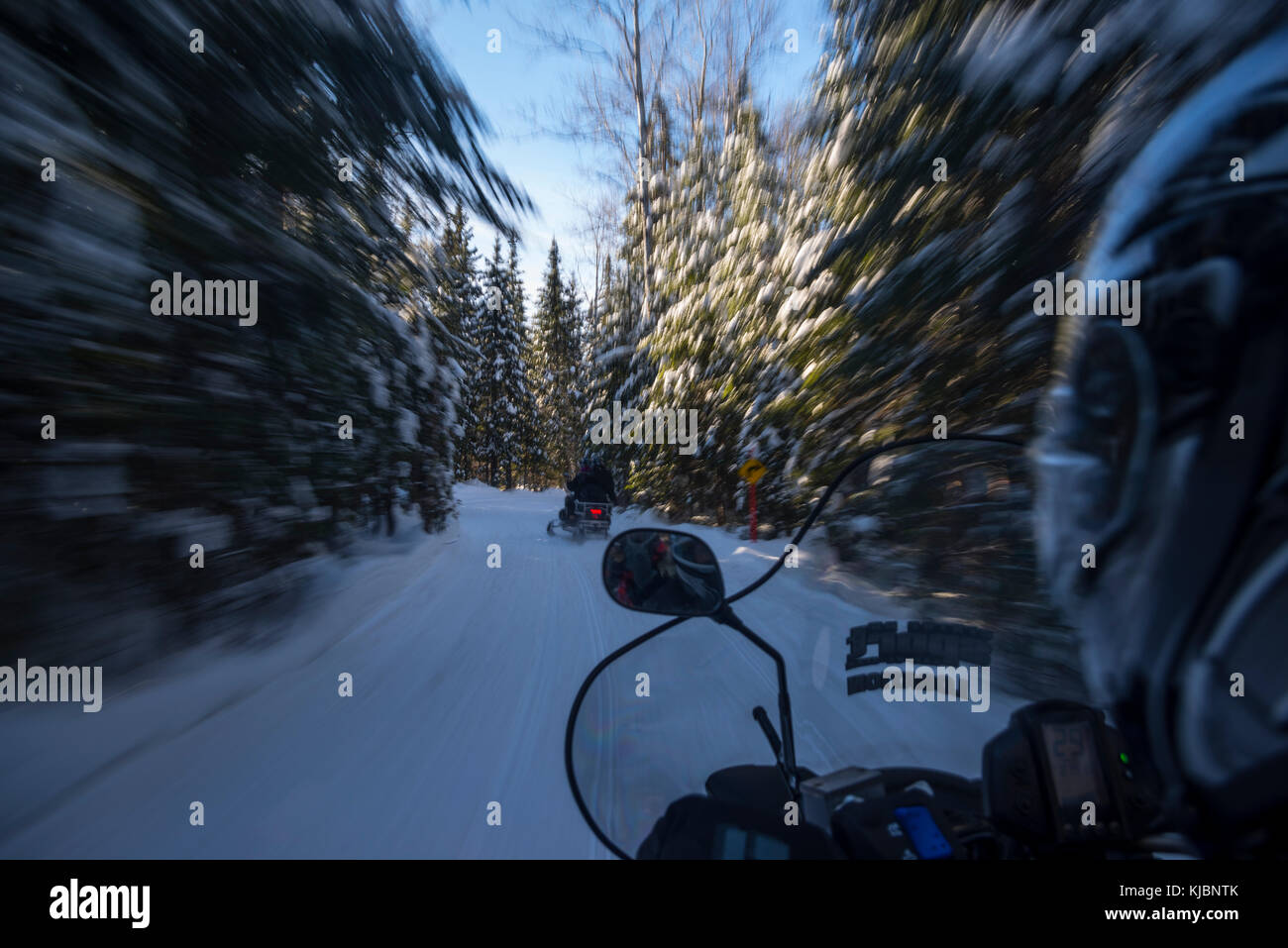 Snowmobiling in Quebec - Stock Image