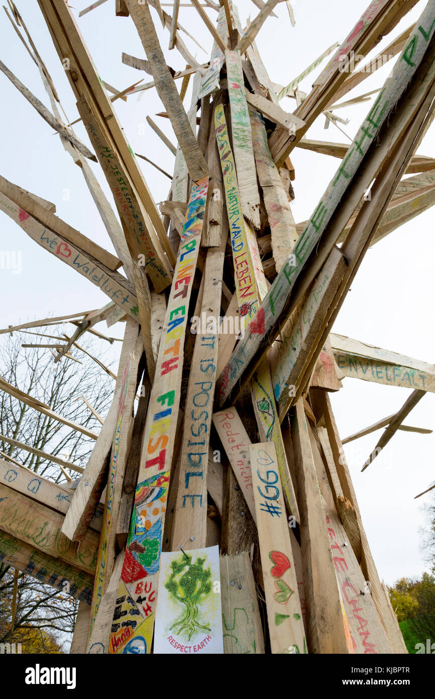 Bonn, Germany, November 14, 2017: Environmental artists in a park in Bonn advocating the sustainability of forests - Stock Image