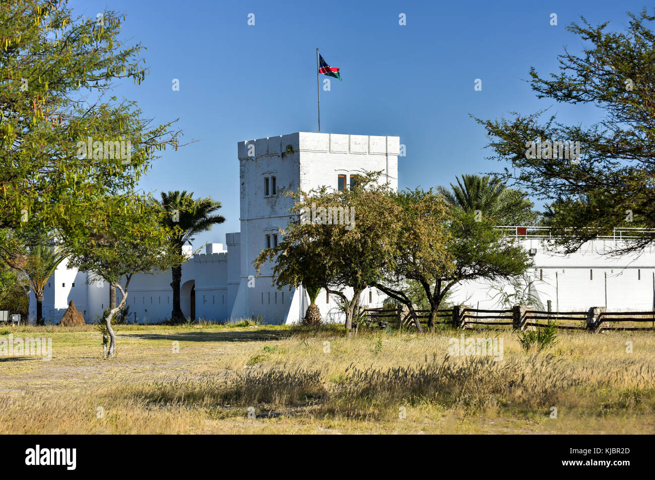 Fort Namutoni in Etosha National Park in Nambia, Africa. It was originally a German police post. - Stock Image