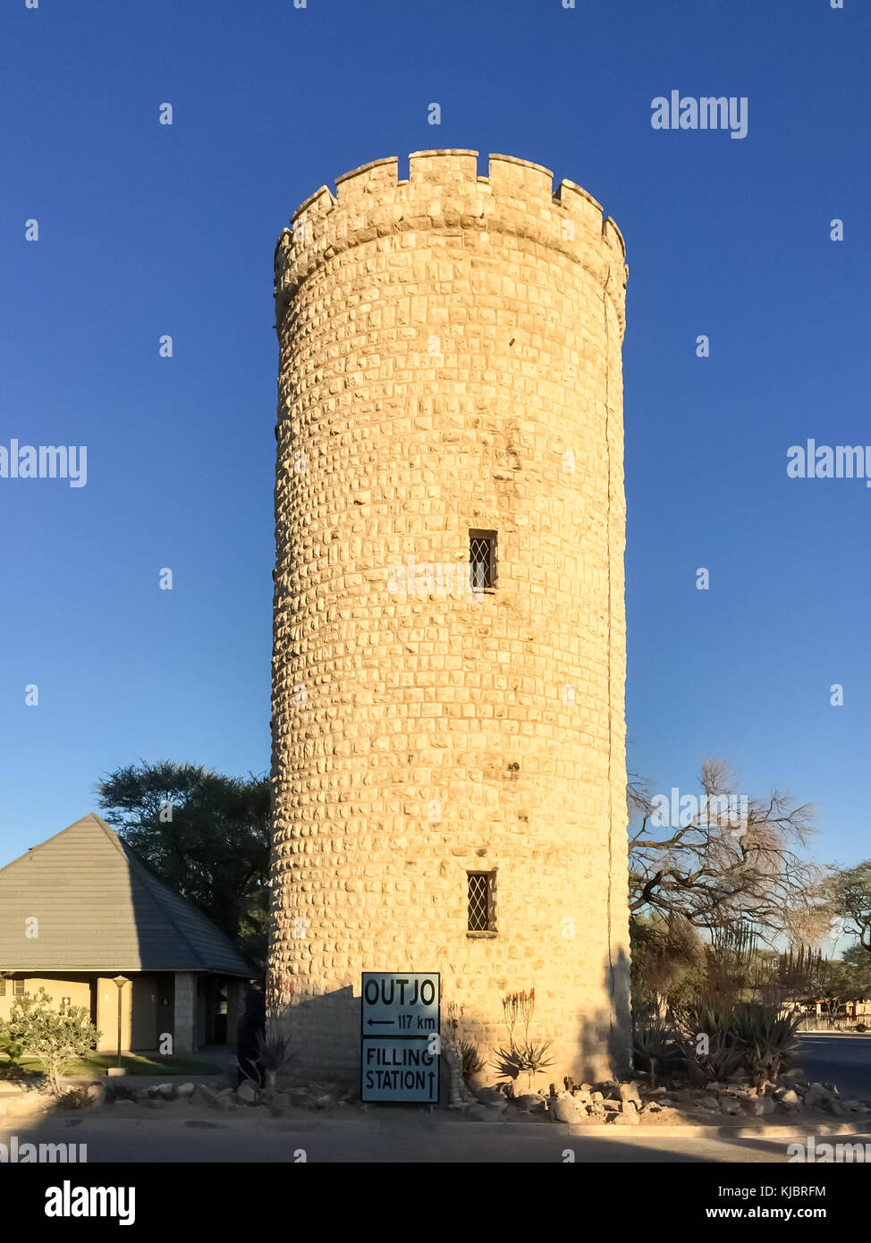 Tower of the former German Fort at Okaukuejo rest camp, Etosha National Park, Namibia - Stock Image