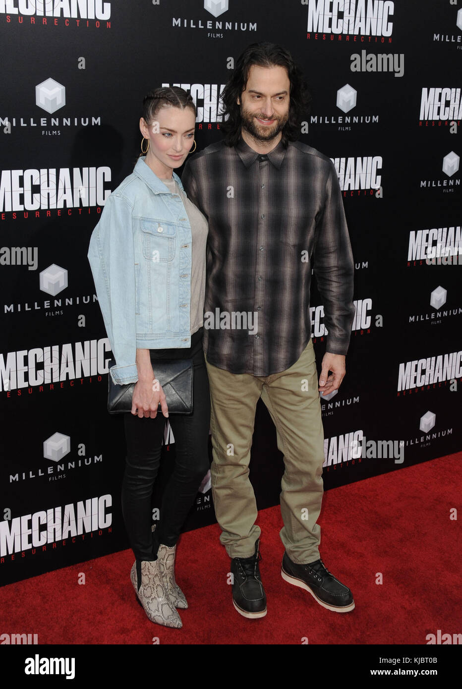HOLLYWOOD, CA - AUGUST 22:  Cassi Colvin, Chris D'Elia  arrives at the Premiere Of Summit Entertainment's - Stock Image