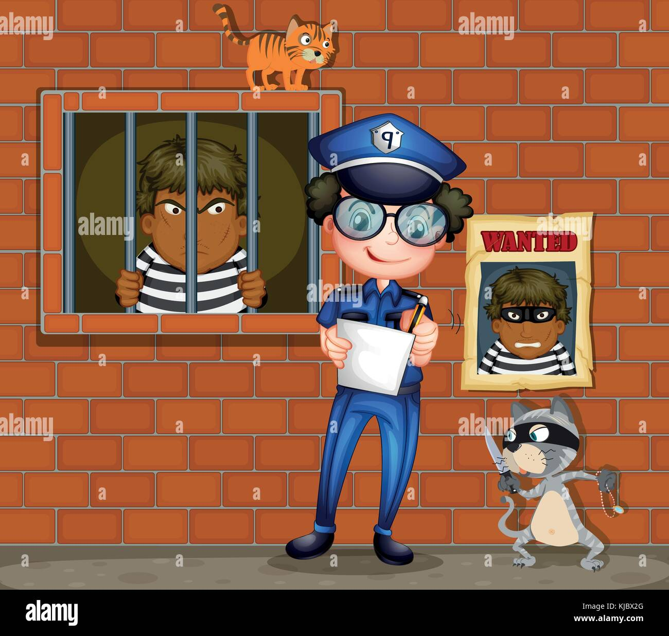 Illustration of a policeman holding a pen and a paper with two cats in the jail - Stock Image