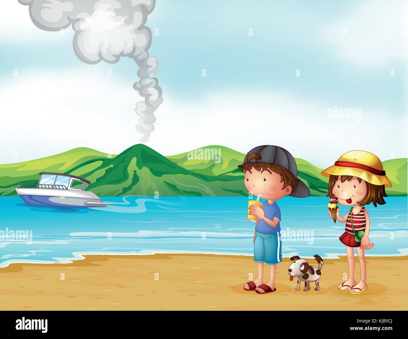 Illustration of a young girl and a young boy strolling at the beach - Stock Vector