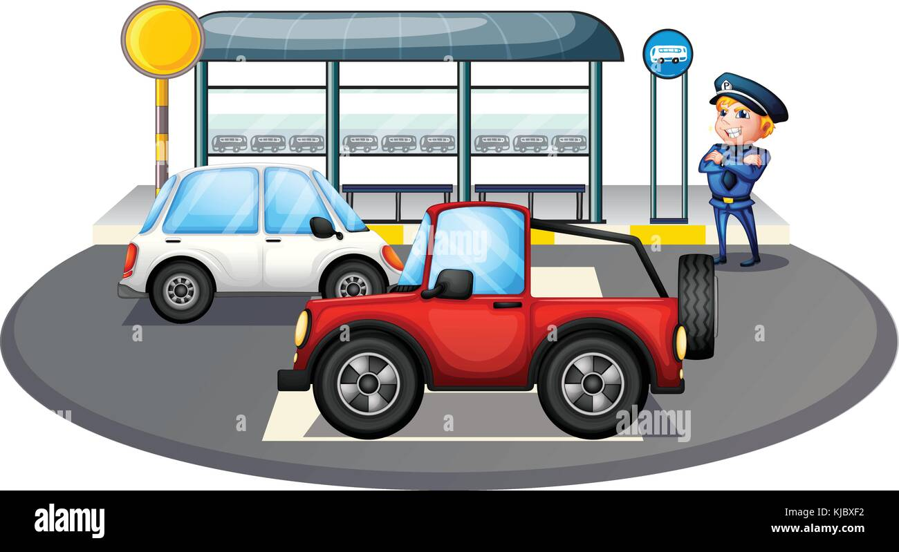 Illustration of a cop standing at the waiting shed area on a white background Stock Vector