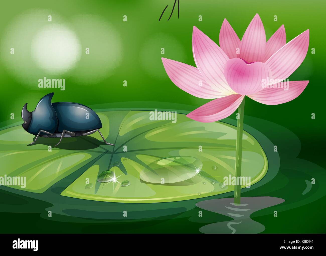 Flower screensaver stock vector images alamy illustration of a bug above the waterlily stock vector mightylinksfo