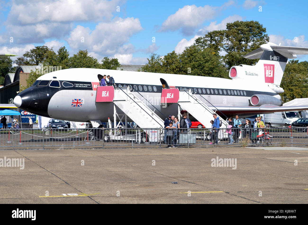 Hawker Siddeley Trident 2E, BEA, Duxford, UK. The Trident flew with British European Airways throughout much of - Stock Image