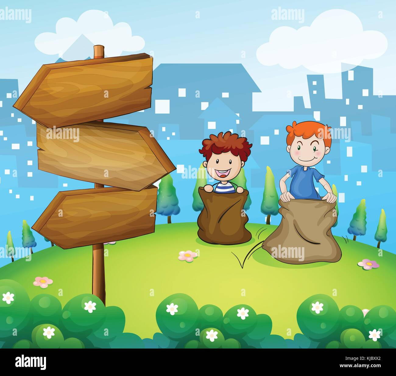 Illustration of the two boys playing sack race near the arrow boards - Stock Vector