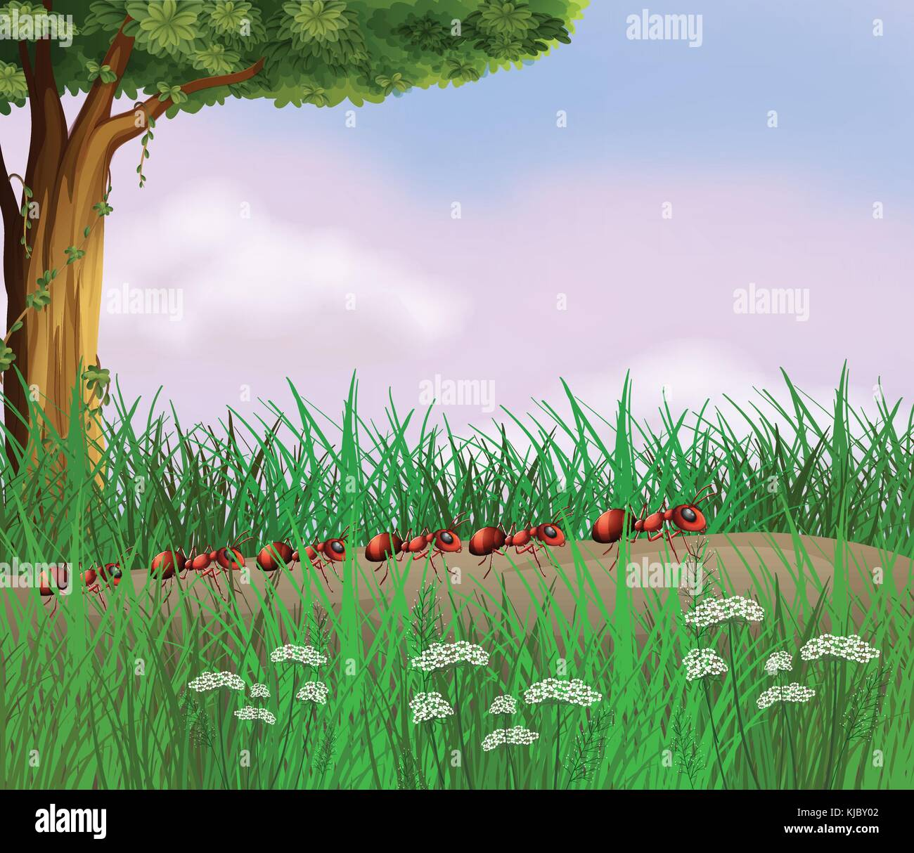 Illustration of a colony of ants crawling in the road - Stock Vector