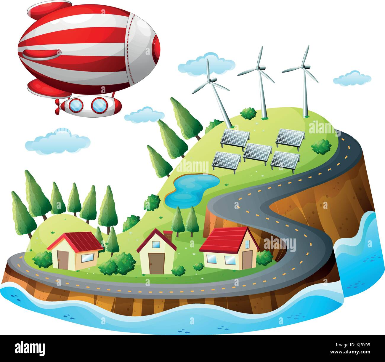 Illustration of a village with an airship above on a white background - Stock Vector
