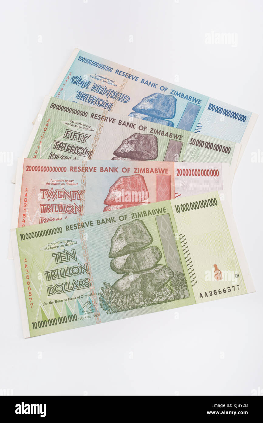 Hyperinflation - 10, 20, 50 & 100 trillion  Dollar Zimbabwe banknotes from 2008. Metaphor for inflation, worthless - Stock Image