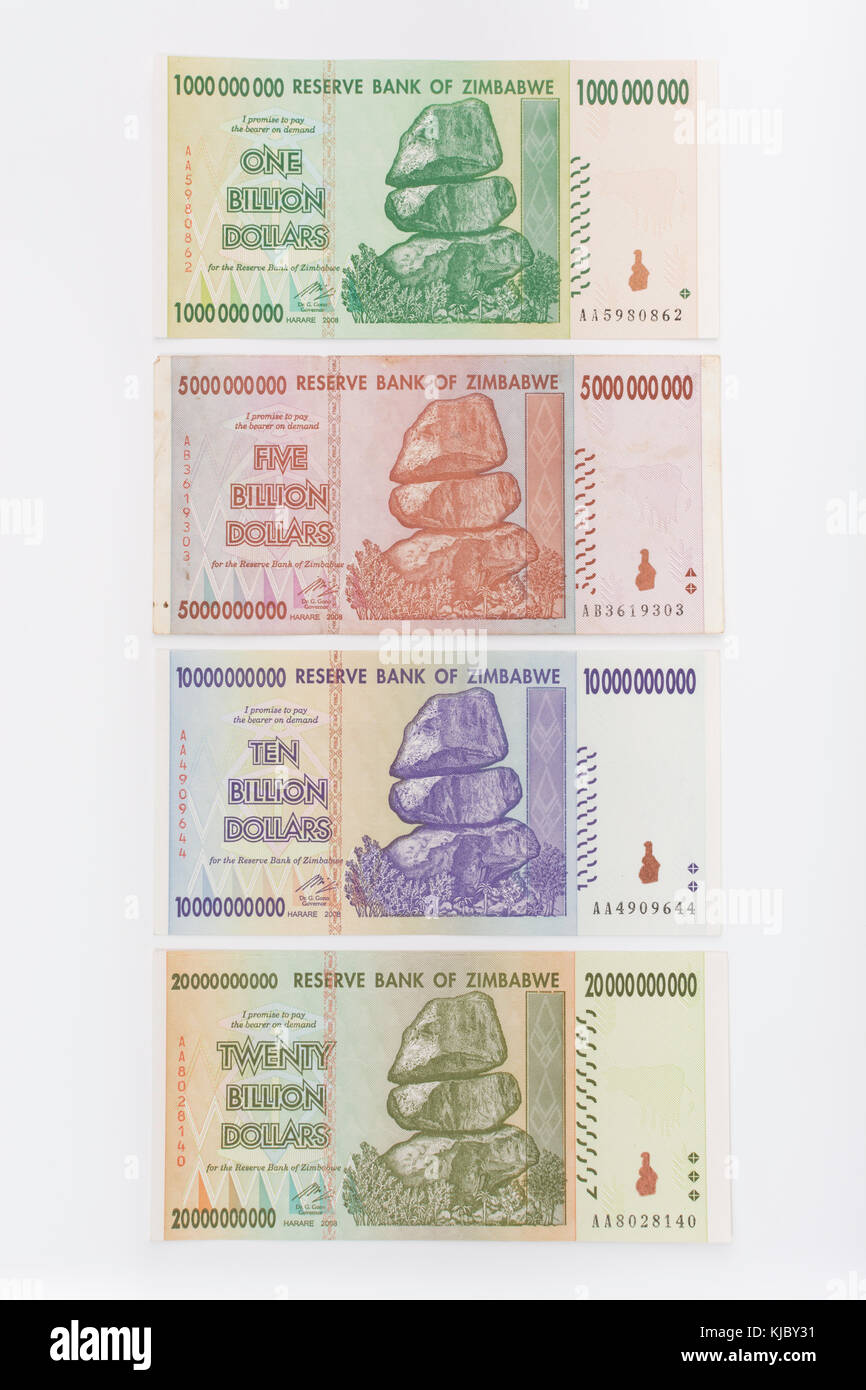 Hyperinflation - 1, 5, 10 & 20 billion Dollar Zimbabwe banknotes from 2008. Metaphor for hyper inflation, worthless - Stock Image