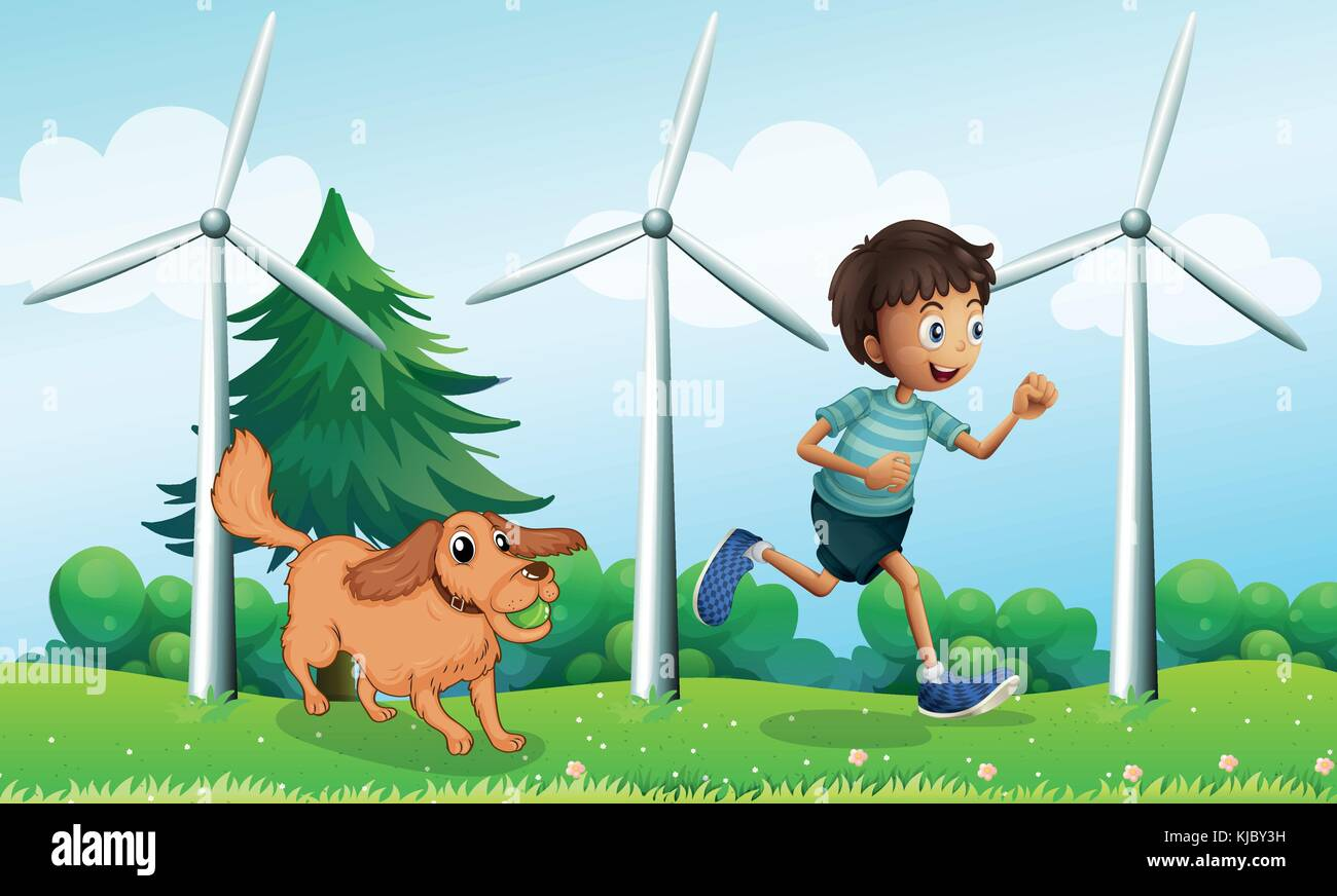 Illustration of a boy and his dog near the three windmills - Stock Vector