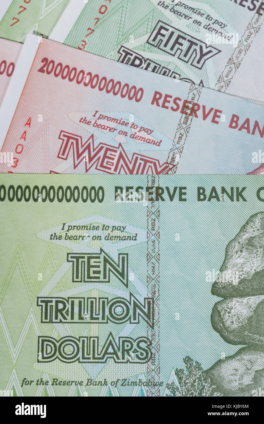 Hyperinflation - 10, 20 & 50 trillion Dollar Zimbabwe banknote from 2008. Metaphor for hyper inflation, worthless - Stock Image