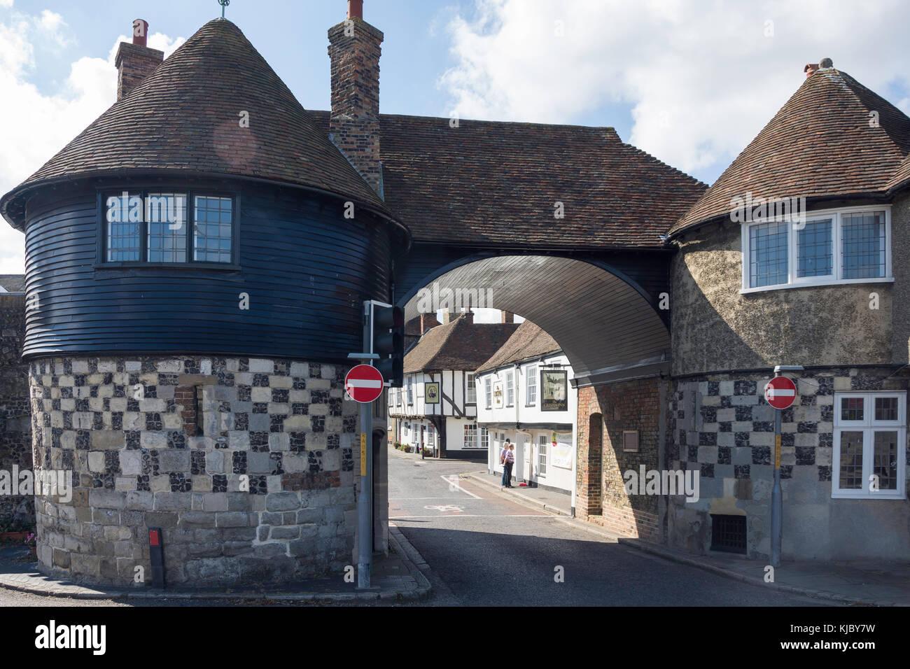 14th century The Barbican, High Street, Sandwich, Kent, England, United Kingdom - Stock Image