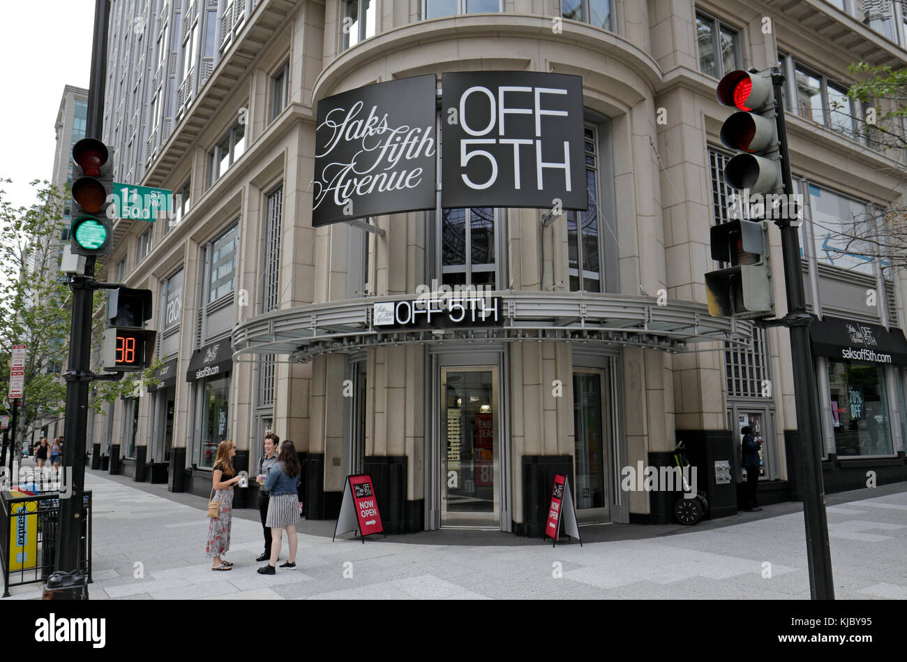 The Saks Fifth Avenue Off 5th retail outlet on 11th St NW in Washington DC, United States. Stock Photo