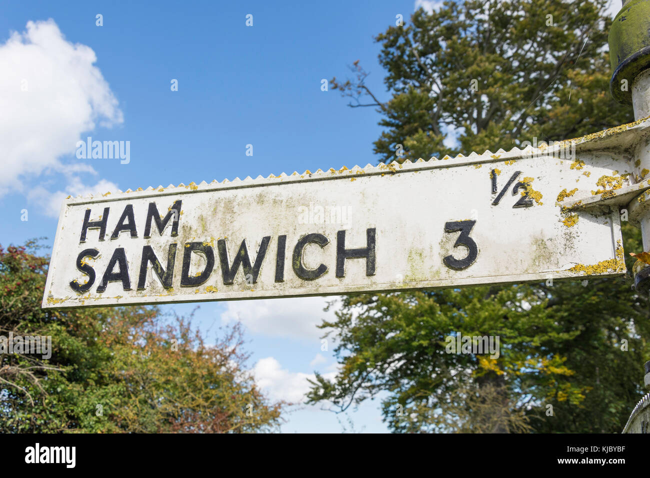 Ham Sandwich road sign, Northbourne Lane, Northbourne, Kent, England, United Kingdom - Stock Image