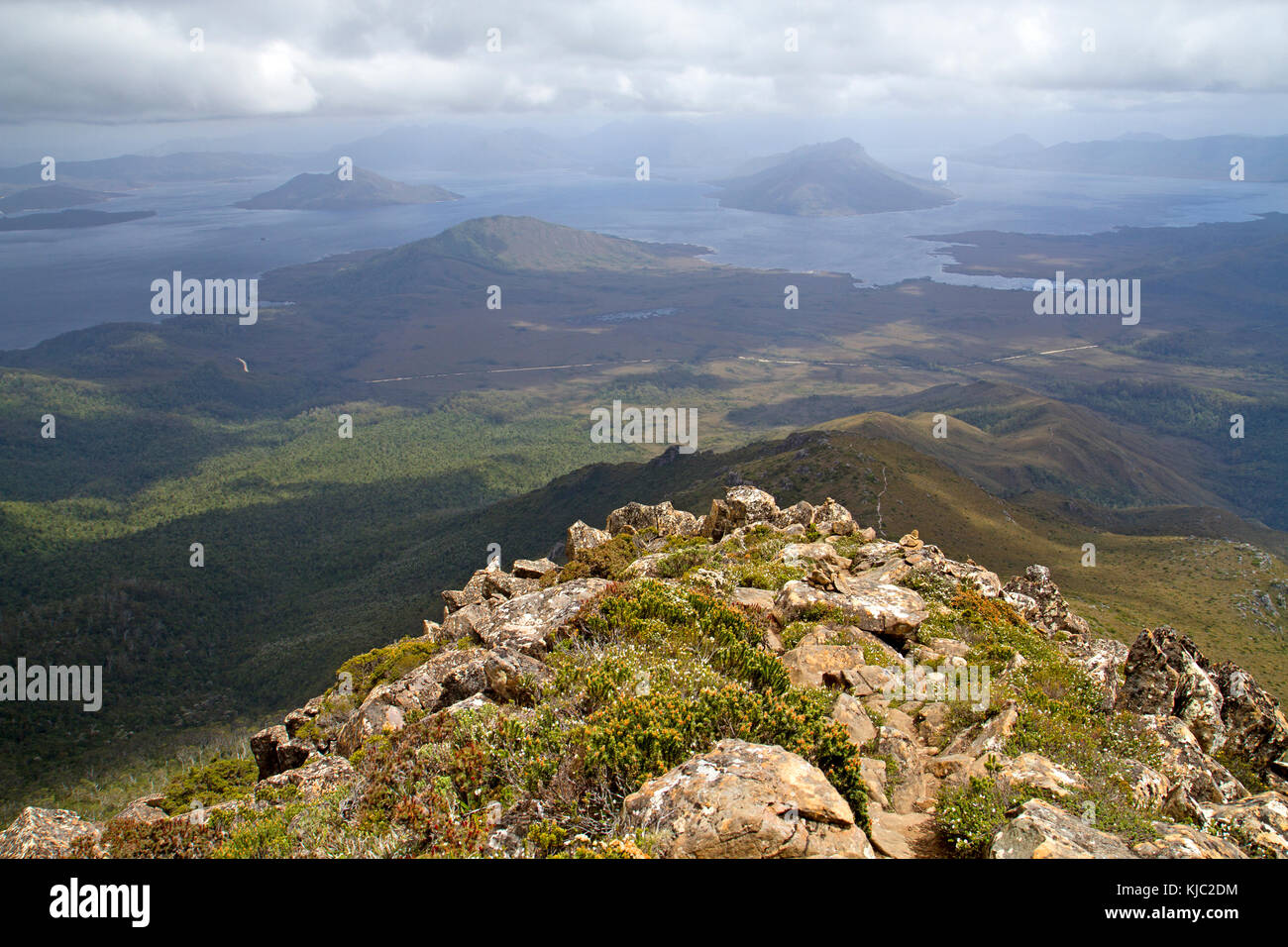 View to Lake Pedder from the slopes of Mt Eliza - Stock Image