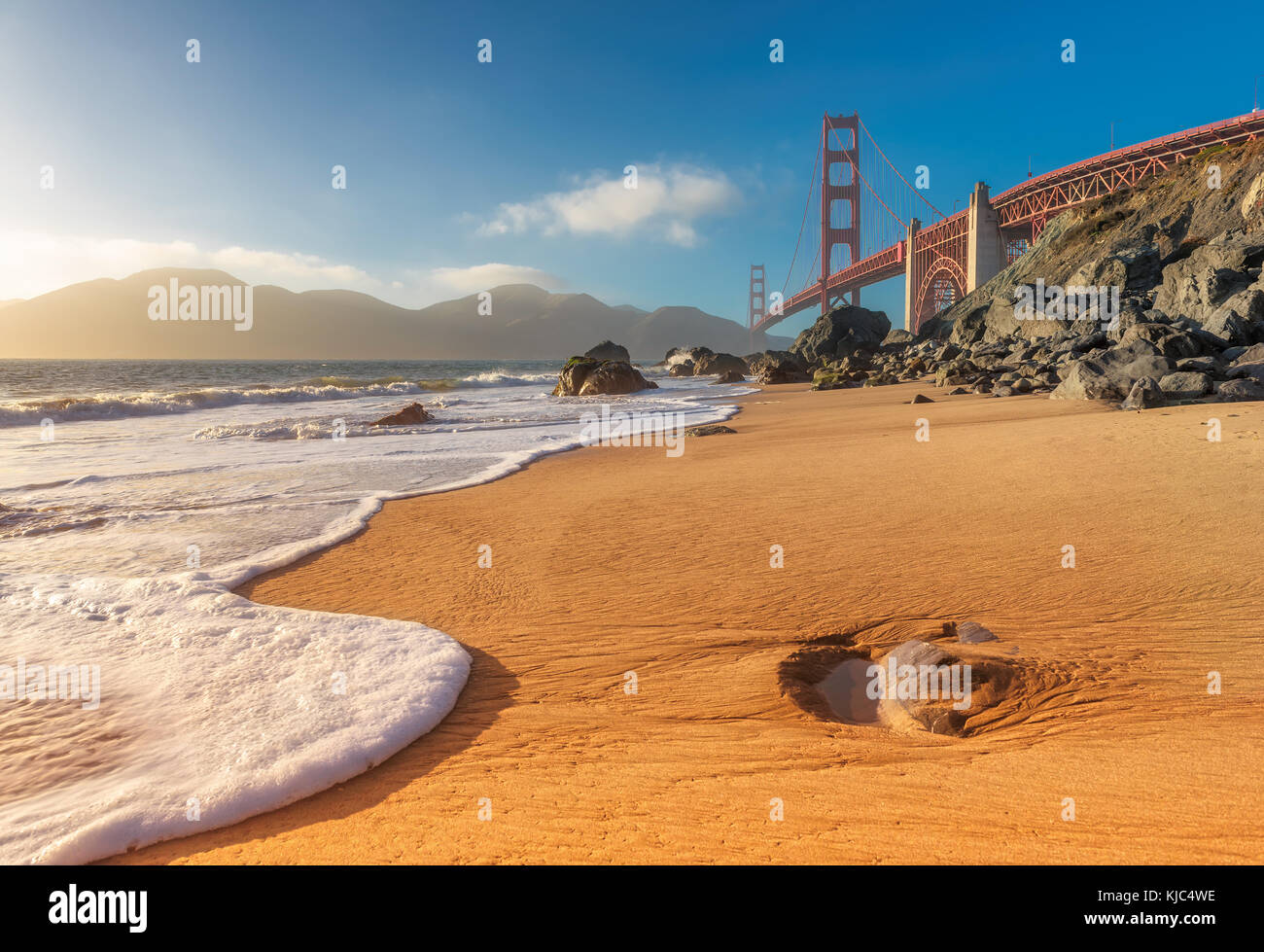 Golden Gate Bridge at sunset - Stock Image
