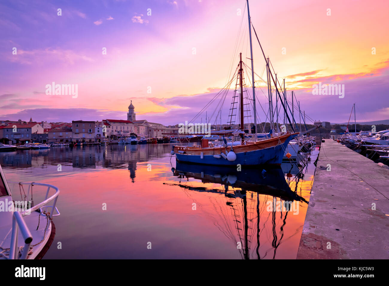 Historic island town of Krk dawn waterfront view, Kvarner bay archipelago of Croatia Stock Photo