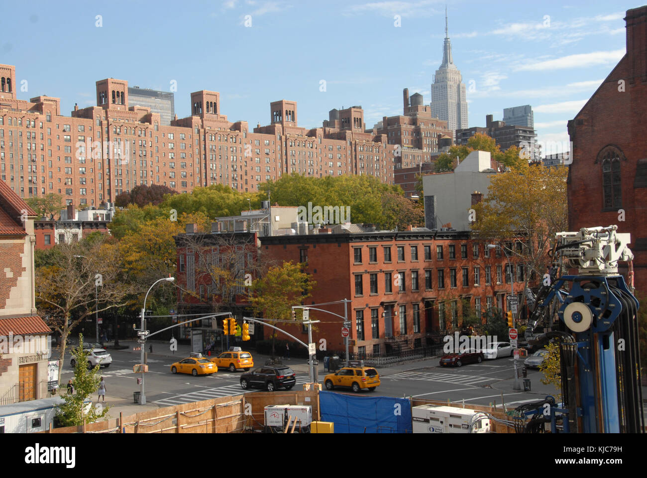 Traffic and work in progress in New York - Stock Image