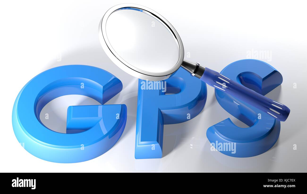 Magnifier on blue GPS - 3D rendering - Stock Image