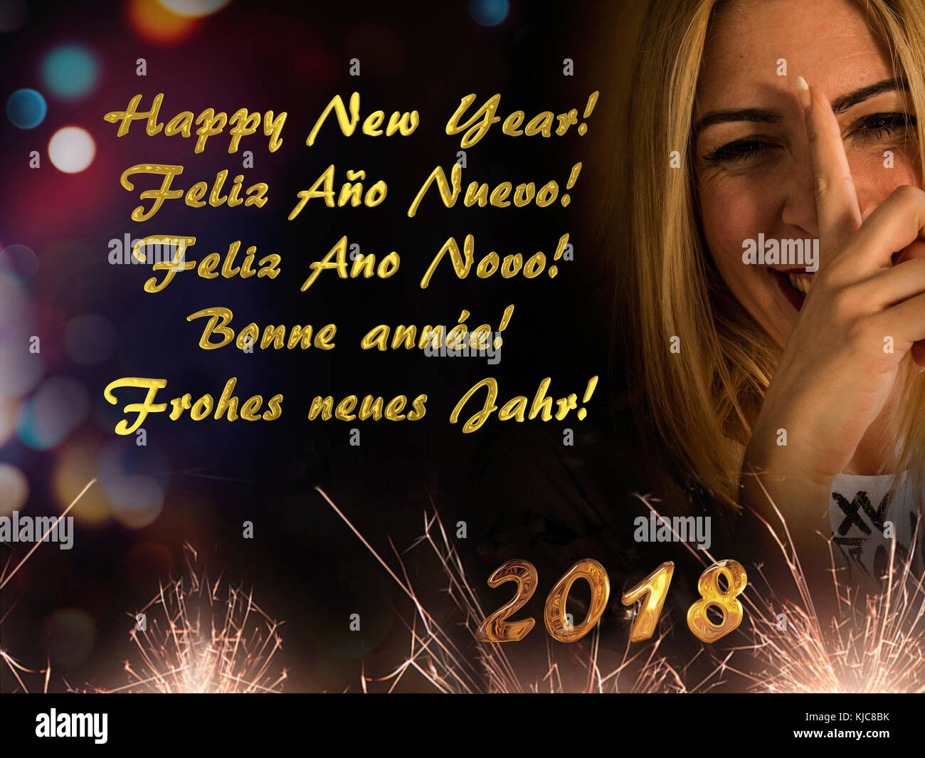 Nice and funny blonde girl wishes you to happy new year 2018 in several languages: English, Spanish, Portuguese, - Stock Image