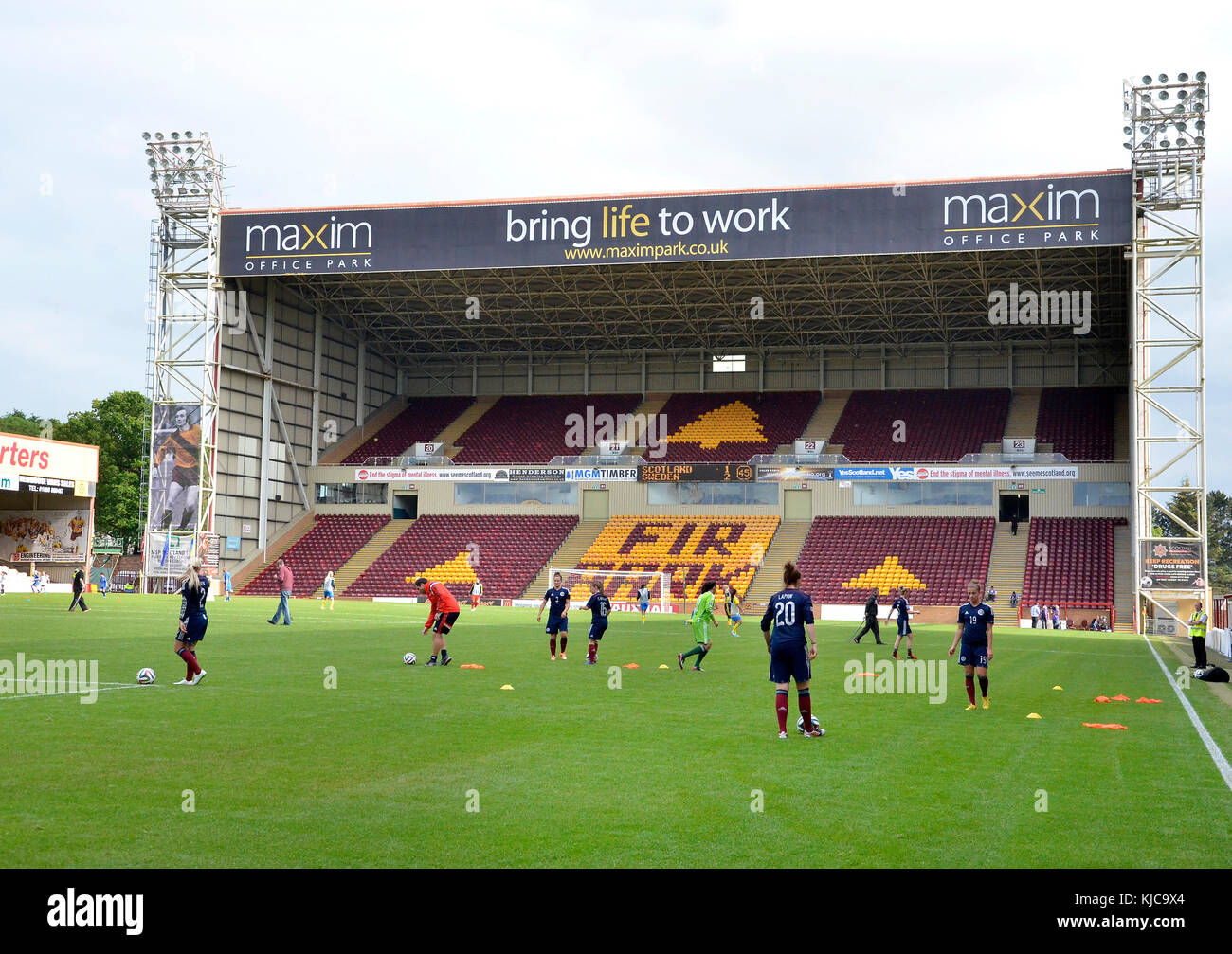 MOTHERWELL, SCOTLAND - JUNE 14 2014: Scotland's National Women football team training before an international match Stock Photo