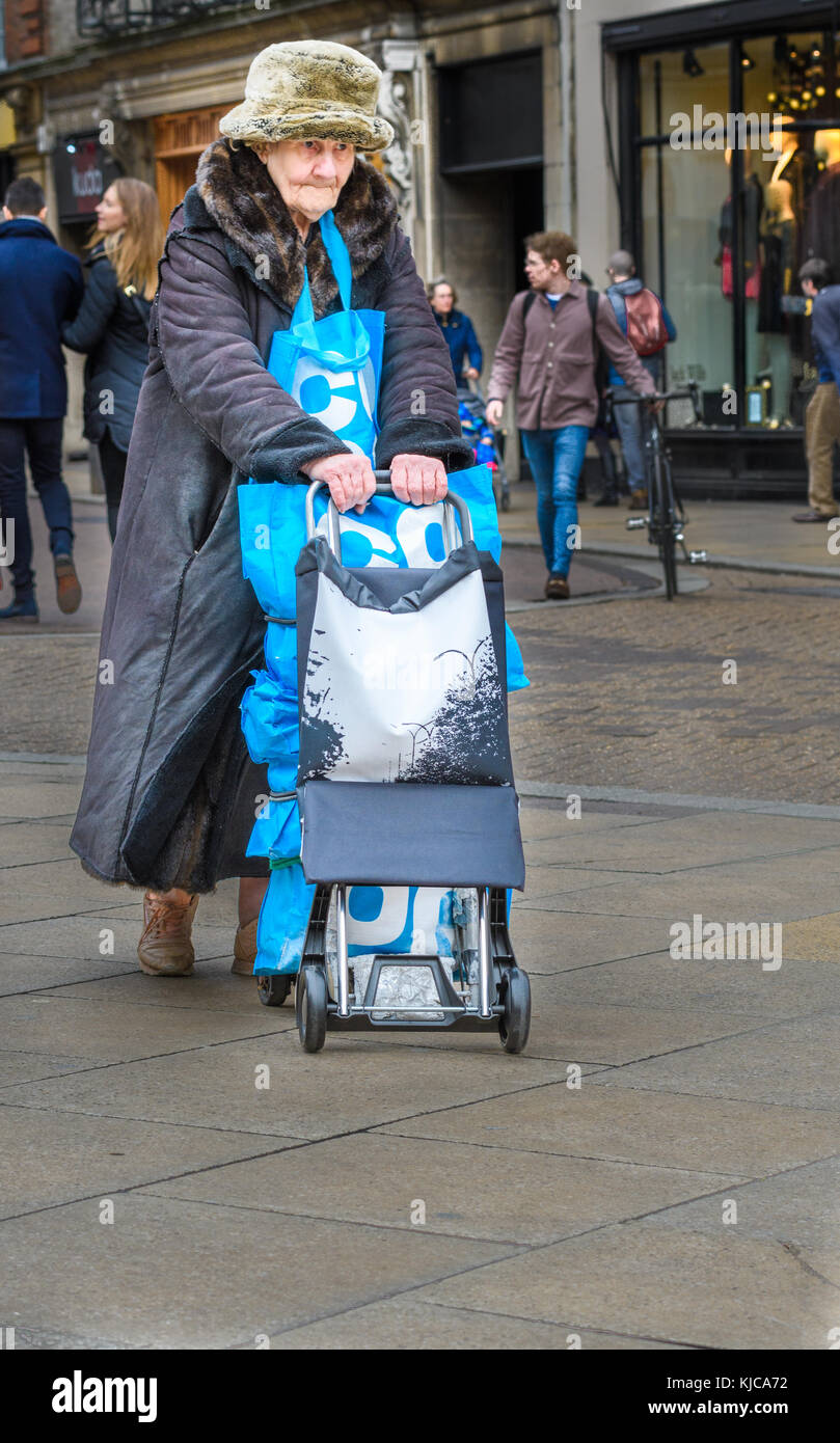 An old woman with her Coop bags pushes a shopping trolley in the shopping area at the centre of the town of Cambridge, - Stock Image