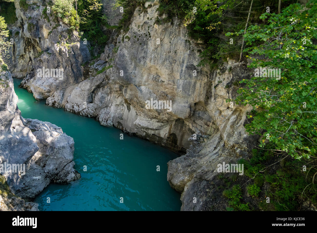 Detail of the Lech canyon near Fussen, Bavaria, Germany - Stock Image