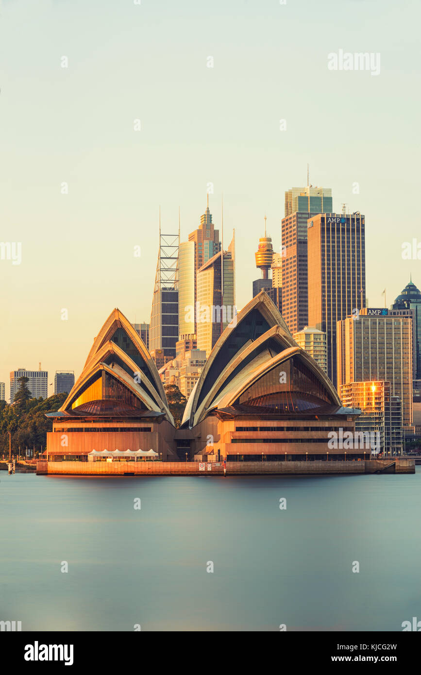 Sydney Opera House at Sunrise, Kirribilli, Sydney, New South Wales (NSW), Australia - Stock Image