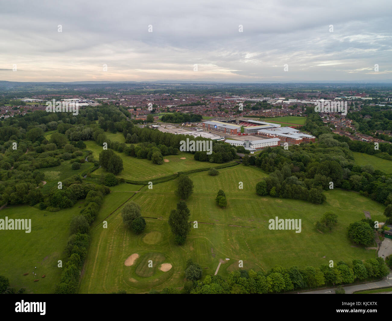 Aerial View Of Leigh Sports Village With Morrisons Supermarket And Holiday Inn Express in Leigh, Greater Manchester, - Stock Image