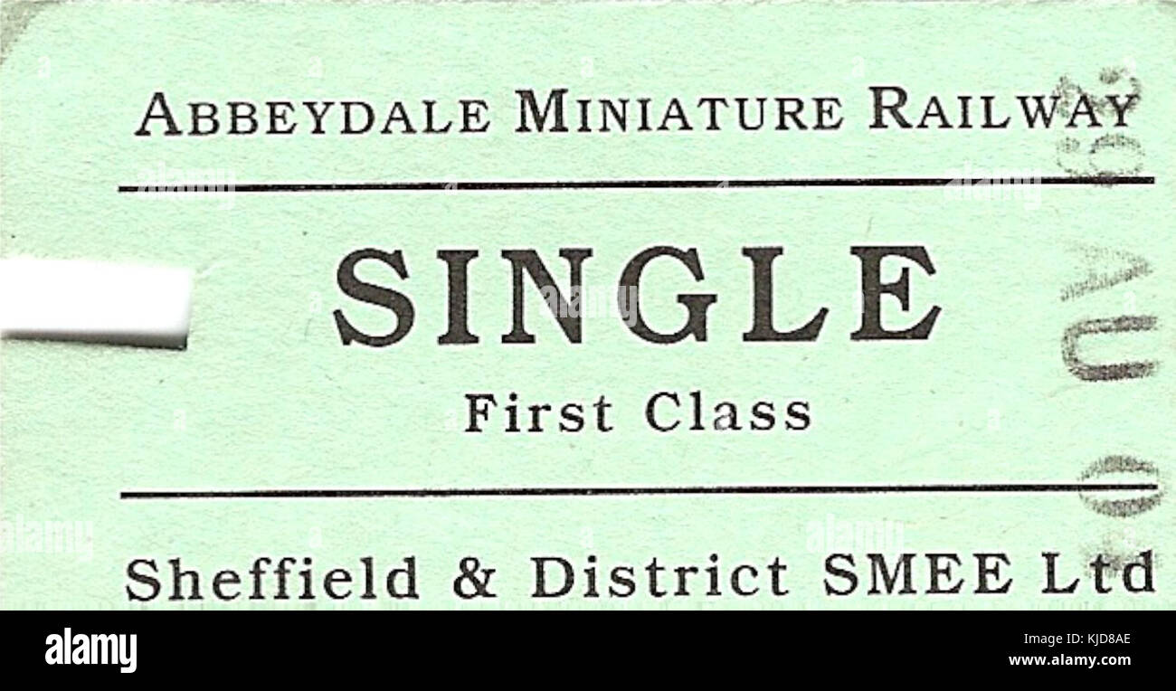 Abbeydale Miniature Railway   Single adult ticket - Stock Image