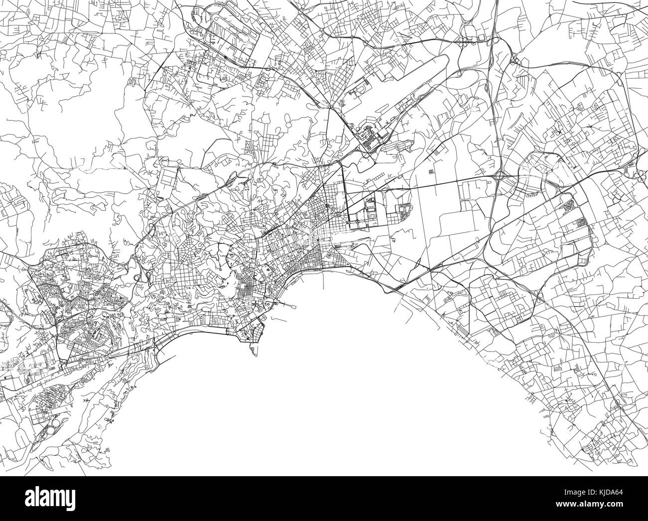 Streets Of Naples City Map Campania Italy Street Map Stock