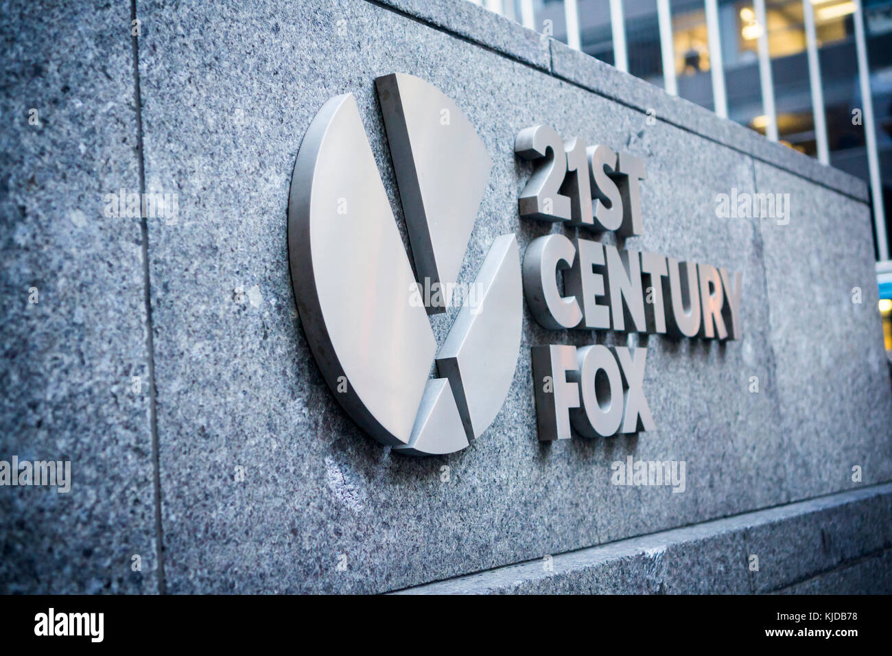 The 21st Century Fox logo on the News Corp. headquarters in Midtown Manhattan in New York on Friday, November 17, - Stock Image