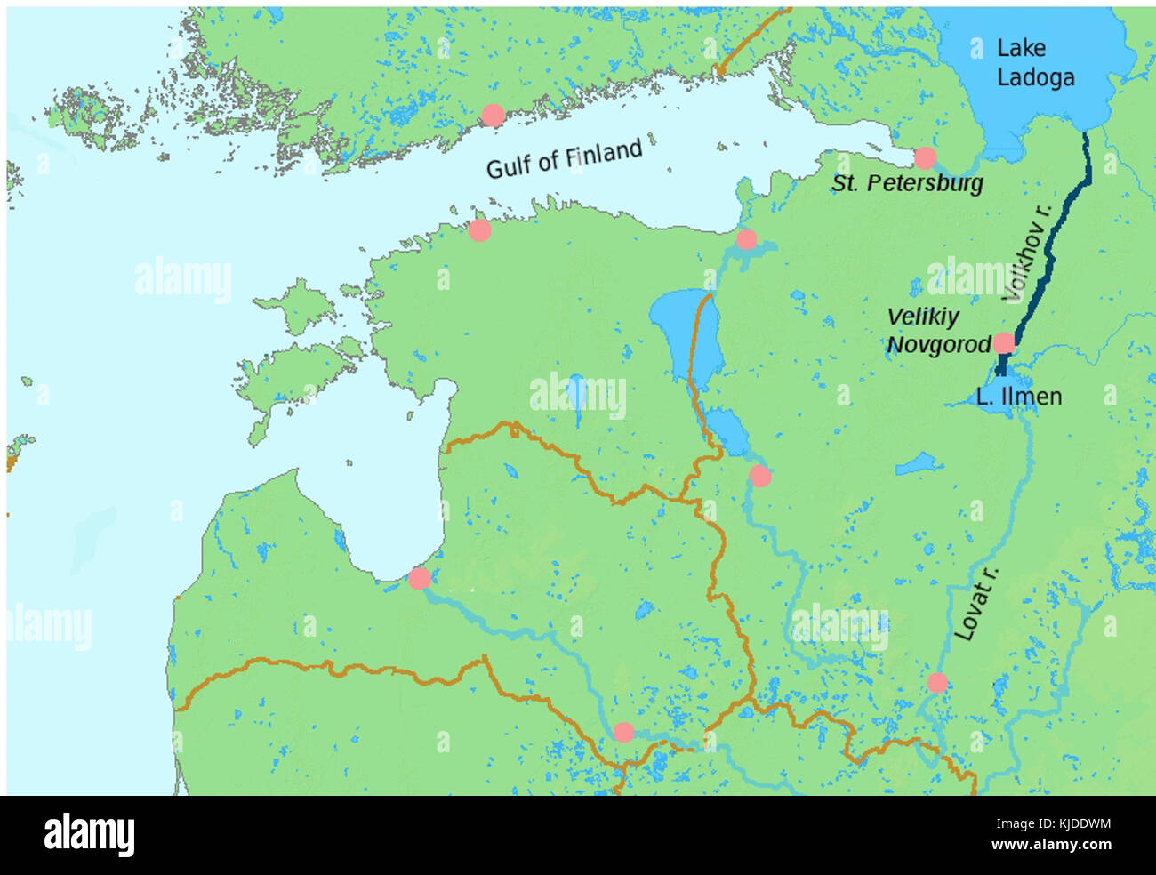 River volkhov localization map - Stock Image