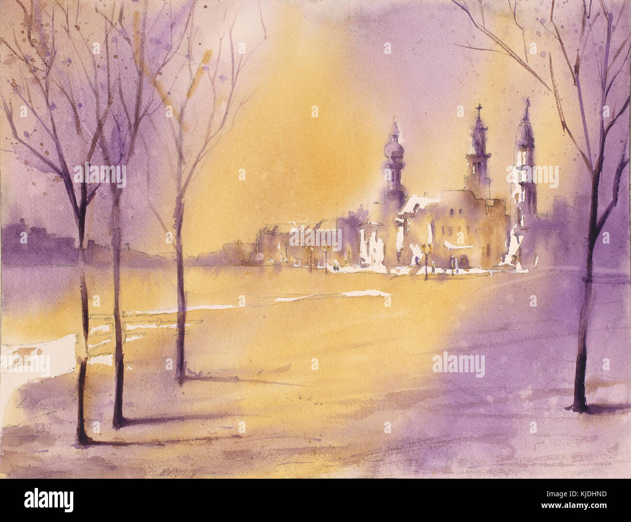 Imagined cityscape with church steeples in distance.  Watercolor painting.  Original watercolor. Stock Photo