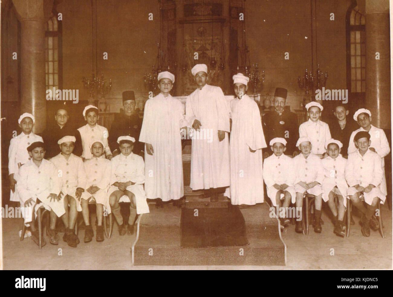 Egyptian Alexandria Jews. Choir of Rabbin Moshe Cohen in Samuel Menashe synagogue. Alexandria Stock Photo