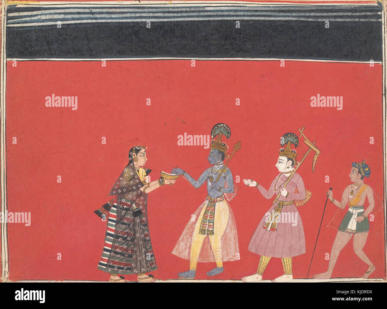 Krishna Accepts an Offering from the Hunchbacked Woman Trivakra - Stock Image