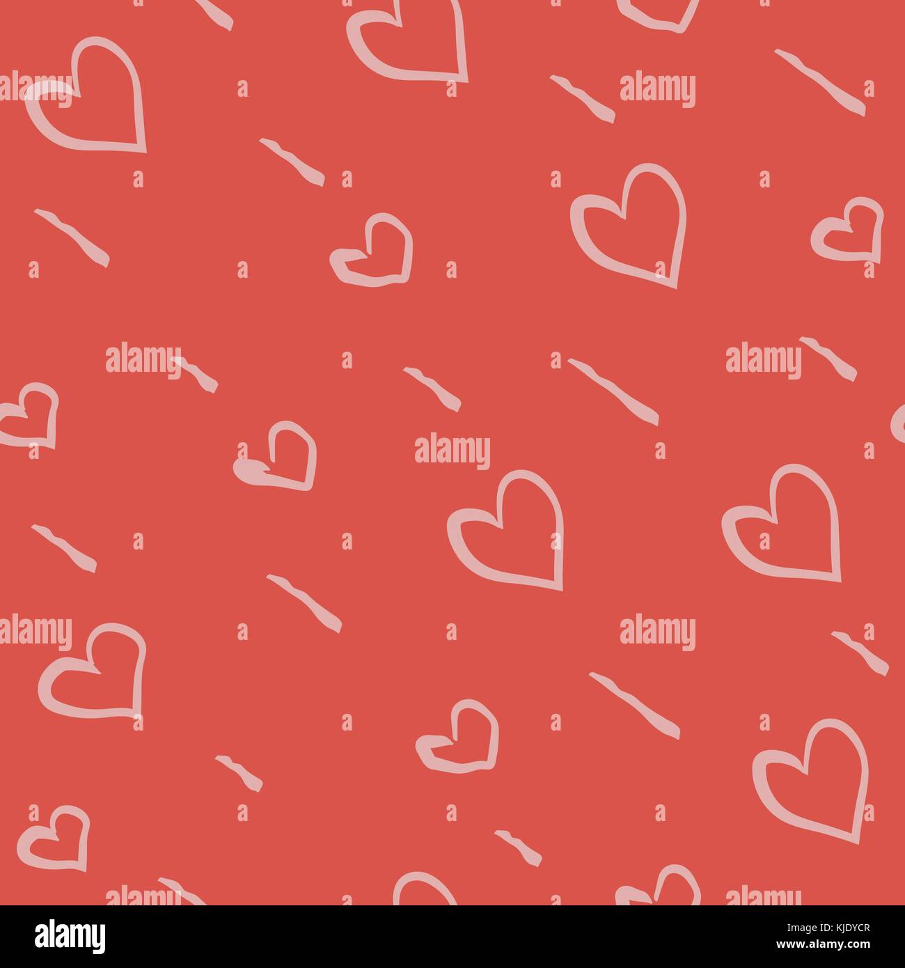 Hand Drawn Seamless Pattern with Hearts. Great for wedding cards ...