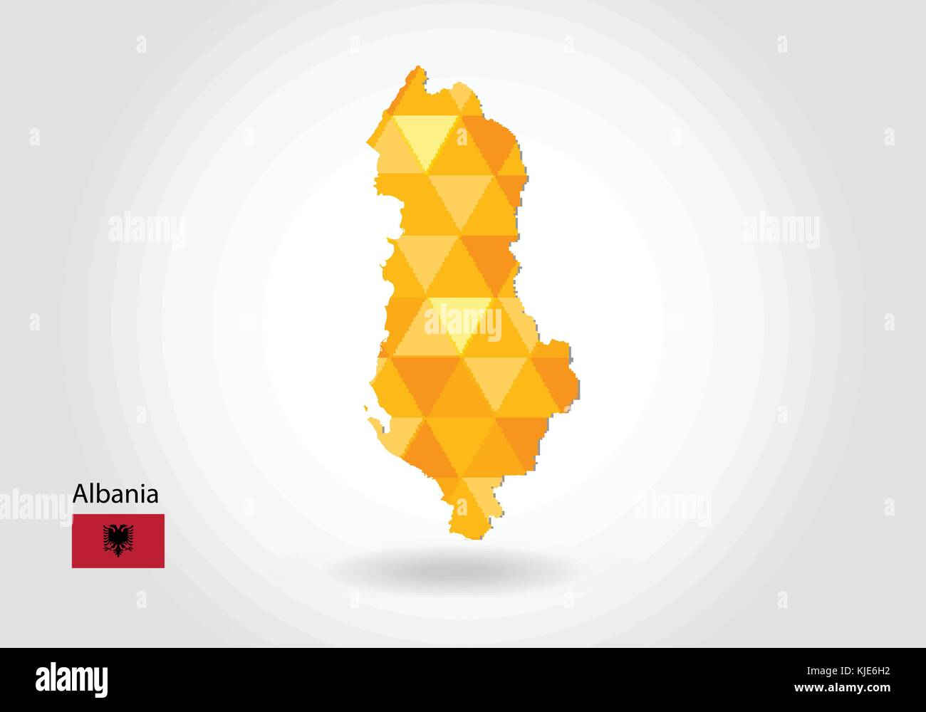 Geometric polygonal style vector map of albania. Low poly map of albania. Colorful Polygonal map shape of albania - Stock Vector