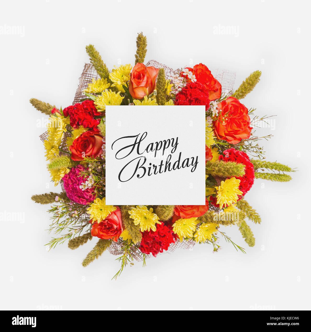 Birthday card with flowers stock photos birthday card with flowers happy birthday card with flowers flat lay stock image izmirmasajfo