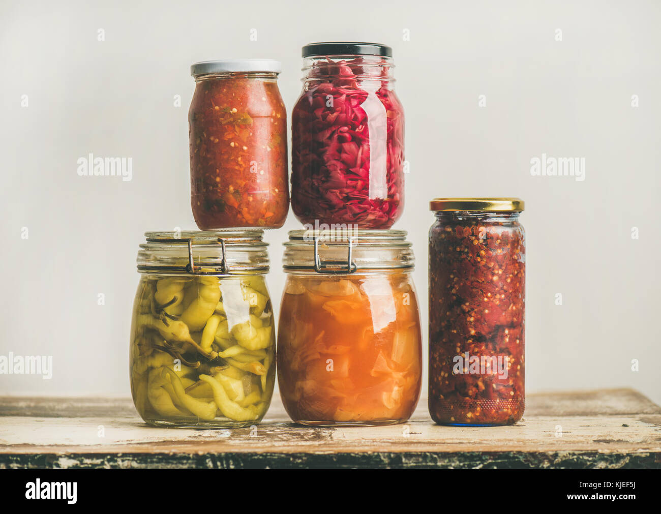 Autumn seasonal pickled or fermented vegetables. Home food preserving - Stock Image