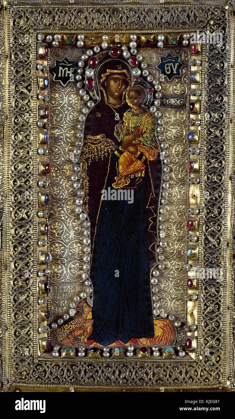 Byzantine art. 14th century. Reliquary of the Holy Despotates. 1370. School of the Athos Mountains. Encaustic and - Stock Image