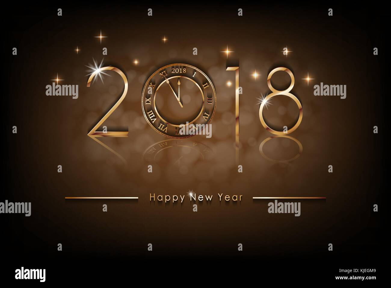 happy new 2018 year illustration greetings new year background banner with gold clock colorful bronze winter background vector