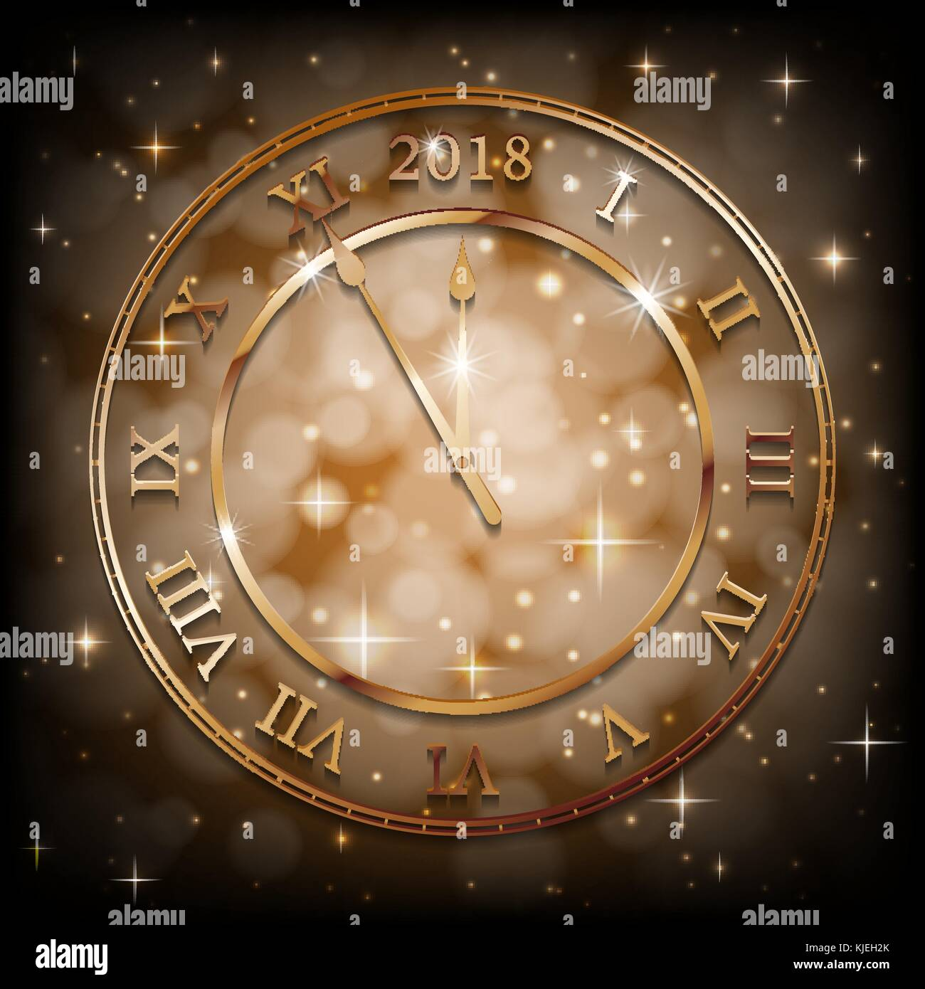 new year 2018 gold background with bronze old clock greetings new year banner with sepia background vector illustration