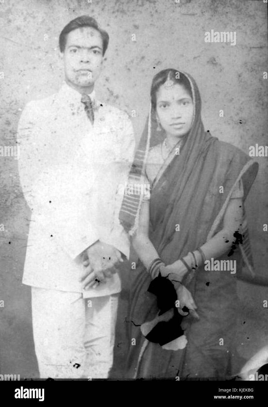 1930s glass plate negative of an indian couple stock image