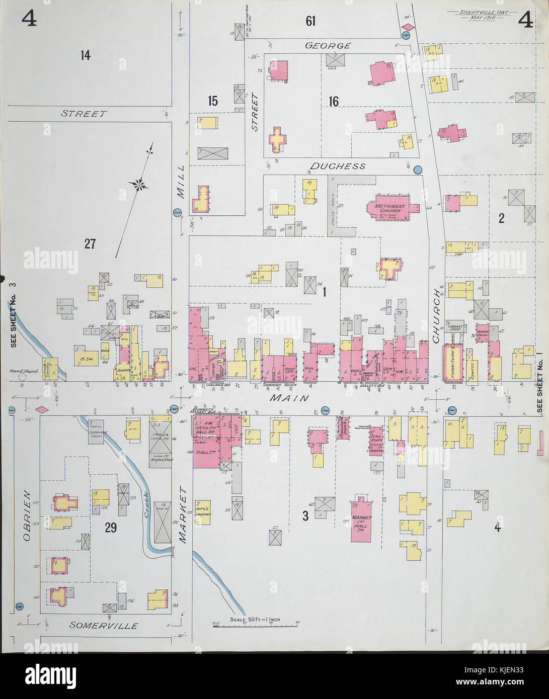 Fire Insurance Map Stouffville Ontario Sheet 4 1910 Stock Photo