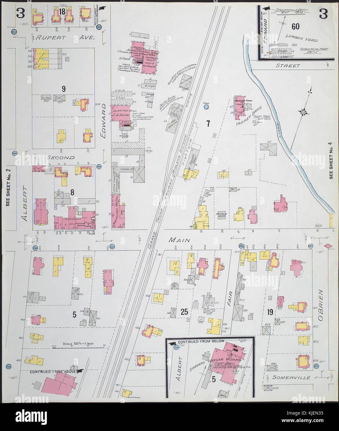 Fire Insurance Map Stouffville Ontario Sheet 3 1910 Stock Photo